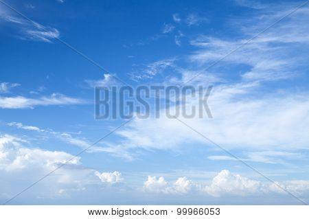 Cirrus And Stratocumulus. Bright Blue Sky