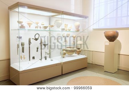 MOSCOW, RUSSIA  -  APRIL 08, 2015: Pushkin Museum - one of the largest and most significant Russian museums of European and world art. Objects from the excavations Panticapaeum .