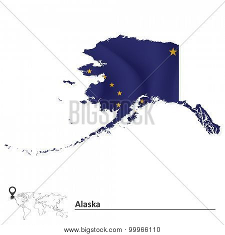 Map of Alaska with flag - vector illustration