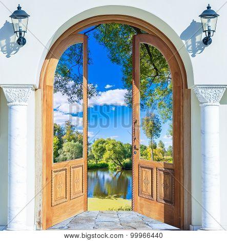 Arch Door Open Pond