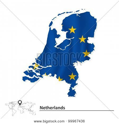 Map of Netherlands with European Union flag - vector illustration
