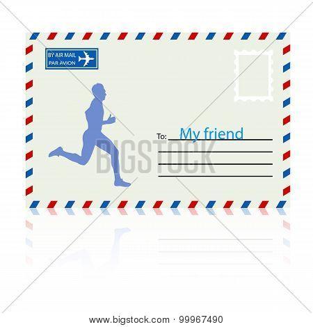 Silhouettes, Athlete Runs On The Mail Envelope. Vector Illustrat