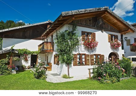 Exterior of a traditional Bavarian countryside house in Mittenwald, Germany.