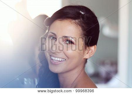 Gorgeous Bride Smiling On Wedding Day