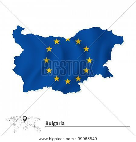 Map of Bulgaria with European Union flag - vector illustration