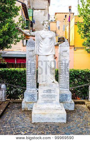 Statue commemorating fellow citizens in Grottaferrata Italy