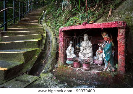 Outdoor Shrine Containing Statues Of The Goddess Of Mercy And Guan Yu, Hong Kong