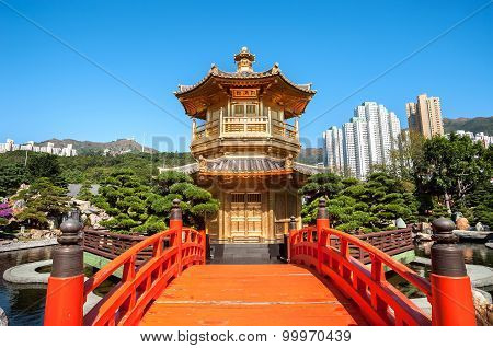 Golden Pagoda In Nan Lian Garden, Diamond Hill, Hong Kong