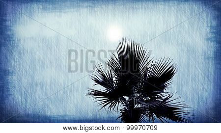 Palm Tree Abstract Blue Background