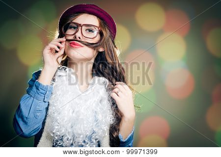 Funny  female wearing hat, glasses, false beard