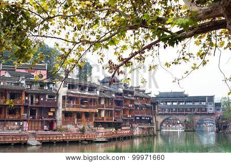 Rainbow Bridge On The Tuojiang River, Fenghuang Ancient Town, China