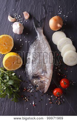 Raw Dorado Fish With Ingredients. Vertical Top View