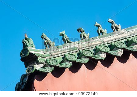 Traditional roof figurines at the Lama Temple, Beijing