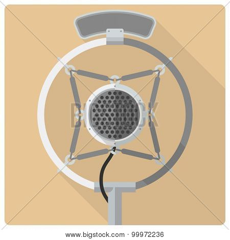 Vintage microphone vector icon. Retro styled flat design vector icon of vintage suspended radio microphone