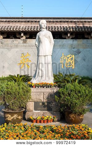 Statue Of Chinese Feminist Revolutionary Qiu Jin In Shaoxing, China