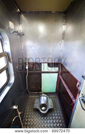 Inside the bathroom of an overnight train, Thailand