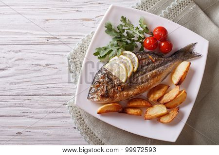Grilled Dorado Fish With Fried Potatoes. Horizontal Top View