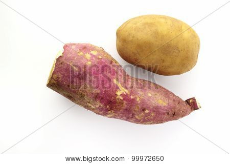 Sweet And Brown Potato On White Background.