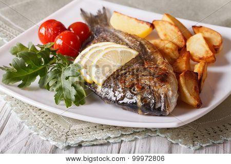 Grilled Dorado Fish With Potatoes Closeup. Horizontal