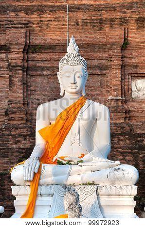 Large White Buddha Statue At Wat Yai Chai Mongkhon, Ayutthaya, Thailand