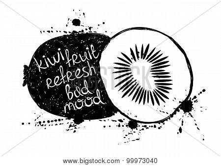 Black And White Illustration Of Isolated  Kiwi Fruit Silhouette.