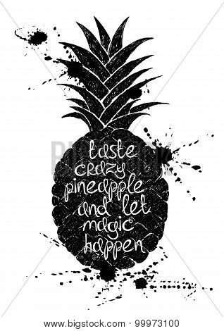 Black And White Illustration Of Black Pineapple Fruit Silhouette.