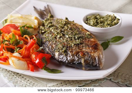 The Gilt-head Bream Fish With Pesto And Salad Macro. Horizontal