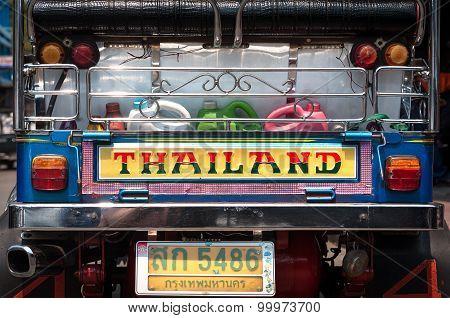 Rear View Of A Parked Tuk-tuk, Bangkok, Thailand