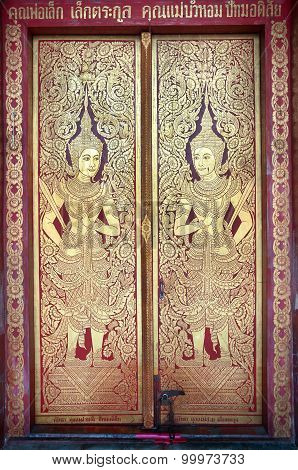 Detail Of The Front Door Of The Main Prayer Hall At Wat Phra Singh, Chiang Mai, Thailand