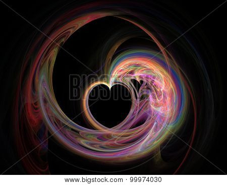 Abstract Fractal Background Empty Heart