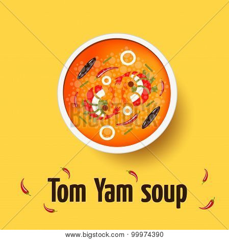 Tom yum - thai spicy soup. Top view