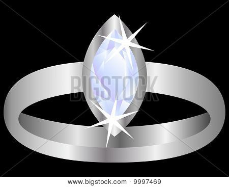 Diamond Ring Isolated on Black
