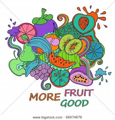 Psychedelic Colorful Fruits Background.