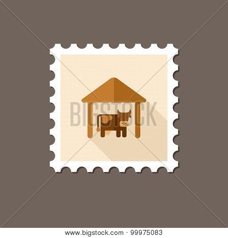 Cowshed Flat Stamp With Long Shadow
