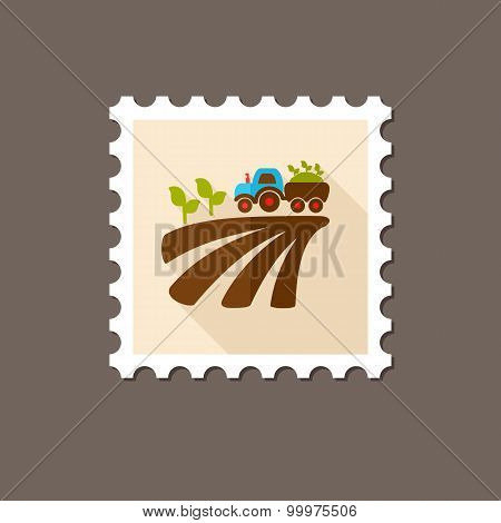 Tractor On Field Harvest Seedling Flat Stamp