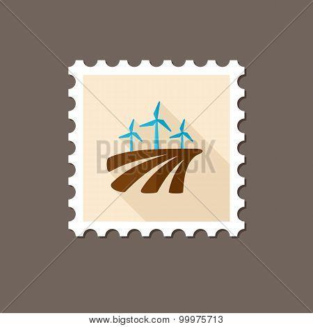 Windmill On The Field Flat Stamp