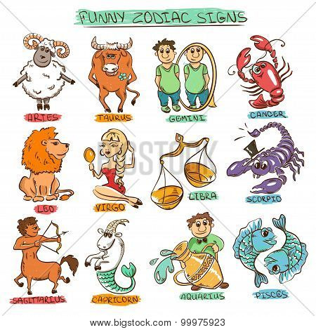 Funny Set Of Twelve Isolated Zodiac Signs.