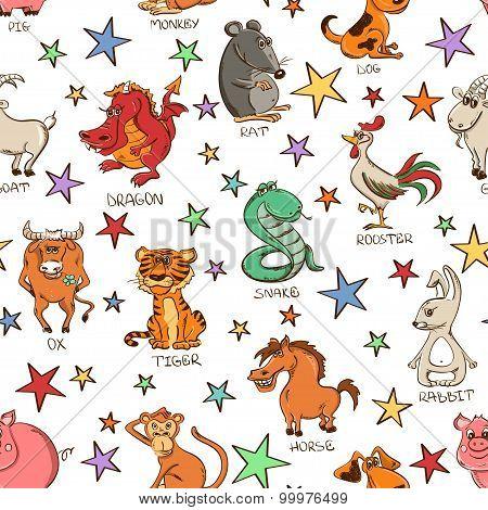 Seamless Pattern Of Chinese Zodiac Animals Signs.