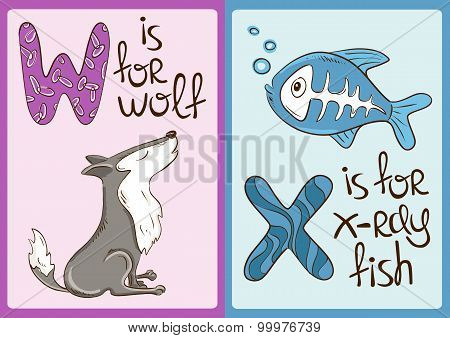 Children Alphabet With Funny Animals Wolf And X-ray Fish.