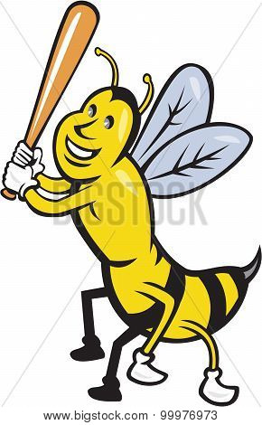 Killer Bee Baseball Player Batting Isolated Cartoon