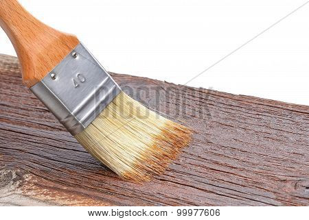 Paint brush on wood