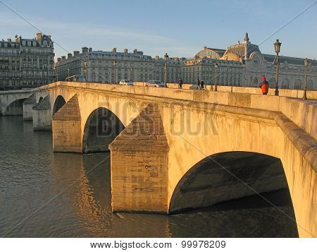 Paris bridge morning light