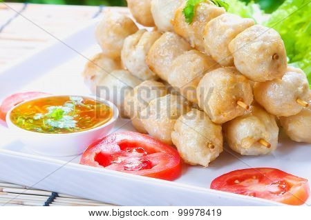 Fried Meat Ball On White Dish