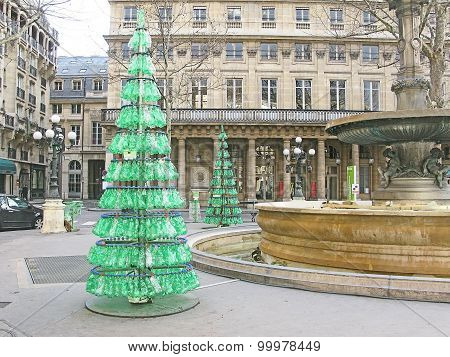 Recycled green plastic Christmas tree