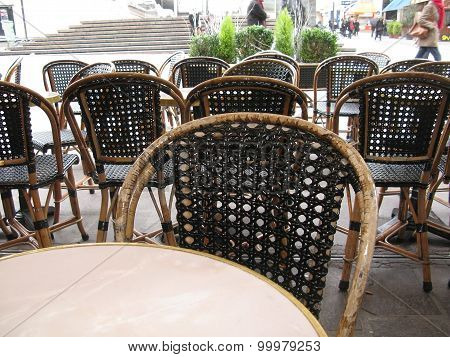 Cafe with black rattan chairs