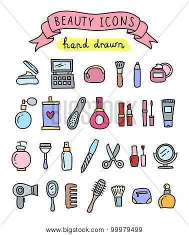 Hand drawn beauty icons: beauty salon, cosmetic, makeup, manicure