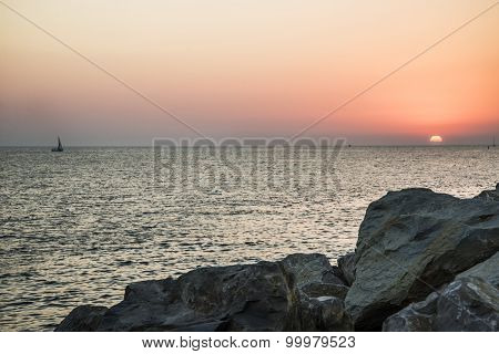 Beautiful sunset on the sea in the evening