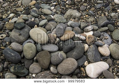 beautiful sea stones on the beach near the water