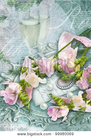 Congratulation Card With Champagne Glasses, Freesias And Perls.