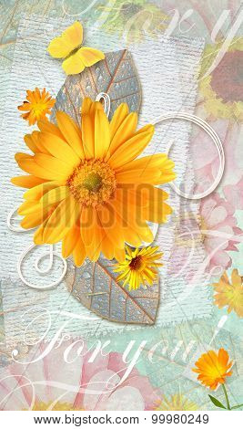 Elegance Postcard With Beautiful Gerbera Flowers And Butterfly.